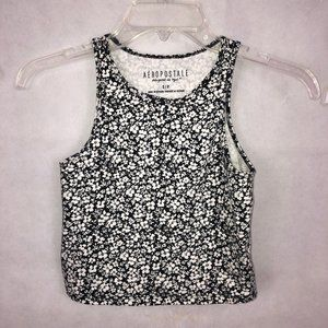 Aeropostale Black/White Floral Crop Top Size Small